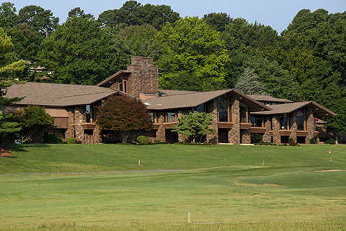 A view of the County Club building from the golf course
