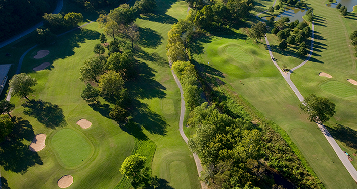 An aerial shot of the greens at Berksdale Golf Course