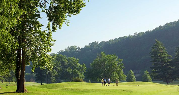 Golfers playing at Berksdale Golf Course
