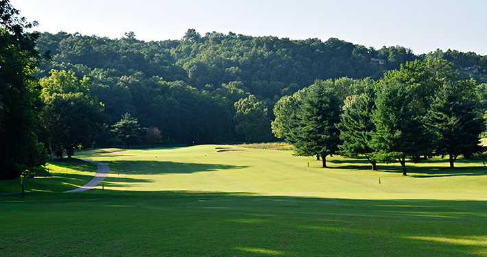 A landscape view of the greens at Kingswood Golf Course surrounded by dense trees