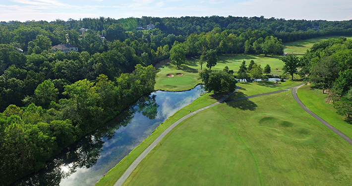 An aerial view of Scotsdale Golf Course