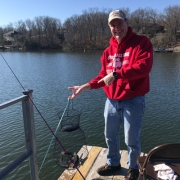 Ken Moore and the four trout he caught on Lake Brittany.