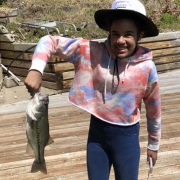 Jadynn Swear with the bass she caught on Loch Lomond.
