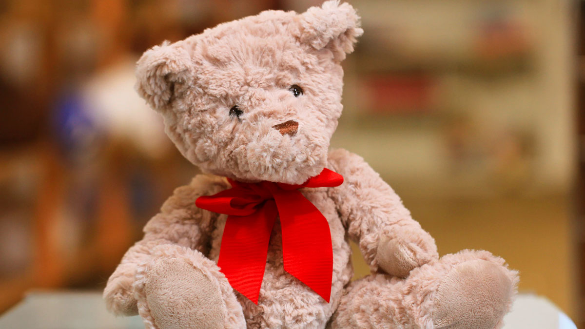 A teddy bear with a red bow