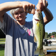 Virginia Ferguson and the bass she caught.