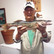 Ray Carpenter with the walleye he caught on Lake Ann.